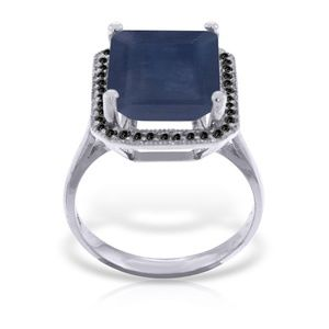 GOLD RING WITH NATURAL BLACK DIAMONDS & SAPPHIRE
